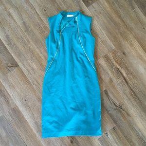 Calvin Klein High Neckline Sleeveless Zip Dress